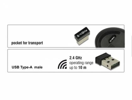 Ergonomische vertikal optische 5-Tasten Maus 2, 4 GHz wireless, Delock® [12528]