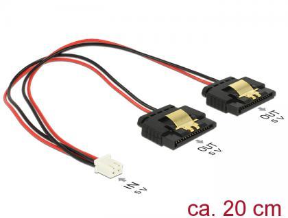 Kabel Power 2 Pin Buchse an 2x SATA 15 Pin Buchse (5V), Metall, 0, 2m , Delock® [85249]