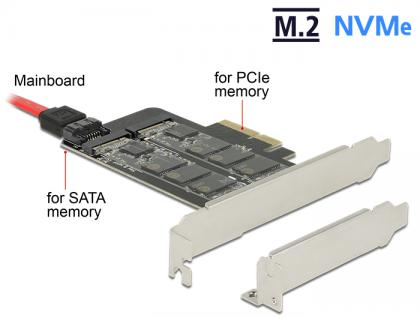 PCI Express x4 Karte an 1x intern M.2 Key B + 1x intern NVMe M.2 Key M - Low Profile Form Faktor, Delock® [89558]
