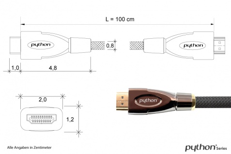 Anschlusskabel HDMI® 2.0 Kabel 4K2K / UHD 60Hz, 24K vergoldete Kontakte, OFC, Nylongeflecht schwarz, 1m, PYTHON® Series
