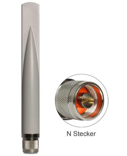 WLAN Antenne N-Stecker 802.11 b/g/n 2, 5 dBi omnidirektional starr grau outdoor, Delock ® [88452]