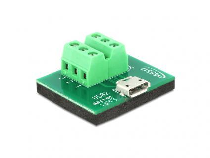 Adapter Micro USB Buchse an Terminalblock 6 Pin, Delock® [65517]