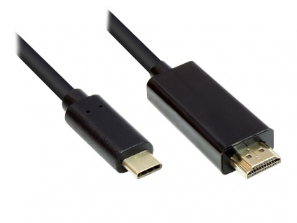kabelmeister® Adapterkabel USB-C™ Stecker an HDMI 2.0 Stecker, 4K2K / UHD 60Hz, CU, schwarz, 1m