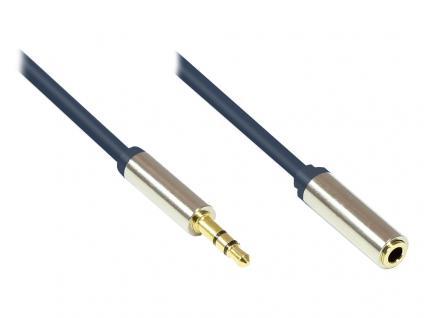 Audio Anschlusskabel High-Quality 3, 5mm, Klinkenstecker an Klinkenbuchse Vollmetallgehäuse, dunkelblau, 0, 5m, Good Connections®