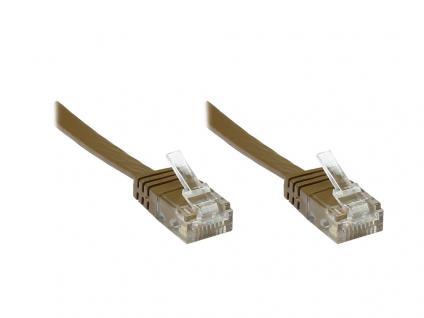 kabelmeister® Patchkabel, Cat.6, FLACHKABEL, 15m, braun