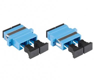 kabelmeister® LWL Duplex Kupplung, SC (UPC) an SC (UPC), OS2, Singlemode, Kunststoffgehäuse mit Flansch, Keramikhülse, blau