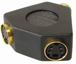 Adapter 2x S-VHS Buchse an 1x S-VHS Stecker, vergoldet, Good Connections®
