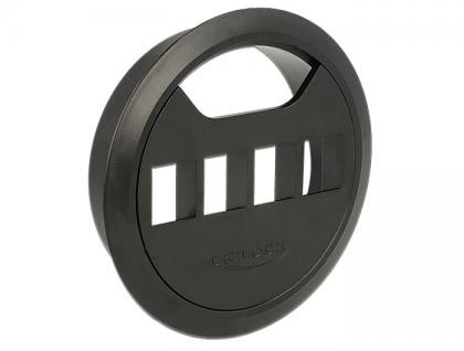Keystone Halterung 4 Port Tisch-Einbau 80 mm schwarz, Delock® [86283]