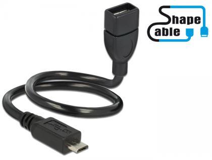 Kabel USB 2.0 Micro-B Stecker an USB 2.0 Typ-A Buchse OTG ShapeCable 0, 35m, Delock® [83927]