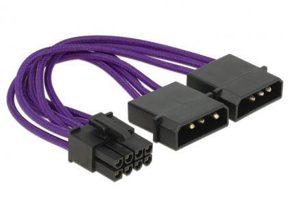 Stromkabel für PCI Express Karten 8 Pin Stecker an 2x 4 Pin Stecker, Textilummantelung, violett, 0, 15m, Delock® [83705]