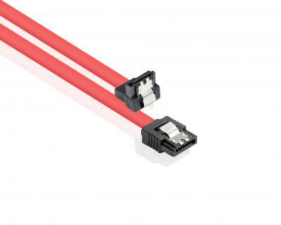 Anschlusskabel SATA 6 Gb/s mit Metallclip, einseitig gewinkelt, rot, 0, 5m, Good Connections®