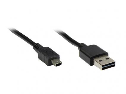 Anschlusskabel USB 2.0 EASY Stecker A an mini Stecker, schwarz, 0, 6m, Good Connections®