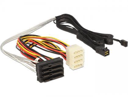 SAS Kabel HD x 4 SFF 8643 Stecker auf 4 x SAS 29 Pin SFF 8482 Buchse 1m, Delock® [83391]