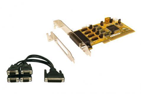 4S Seriell RS232 PCI Karte, 5/12V auf 9 Pin Anschluss einstellbar, inkl. Octopus Kabel und LP Bügel (SystemBase Chip-Set), Exsys® [EX-41384]