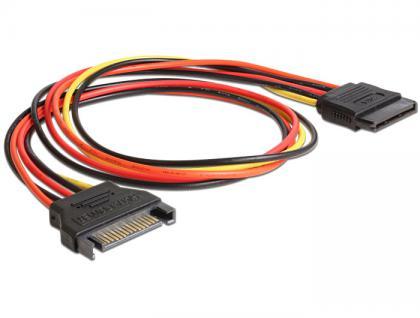 SATA Stromkabel, Power SATA 15 Pin Stecker an Buchse, 0, 5m, Delock® [60132]