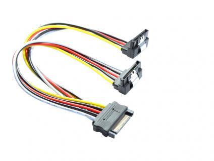 kabelmeister® SATA Y-Stromkabel, SATA Stecker an 2x SATA Buchse 90____deg; nach unten gewinkelt