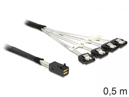 SAS Kabel HD x 4 SFF 8643 Stecker auf 4 x SATA 7 Pin Buchse, 0, 5m, Delock® [83392]