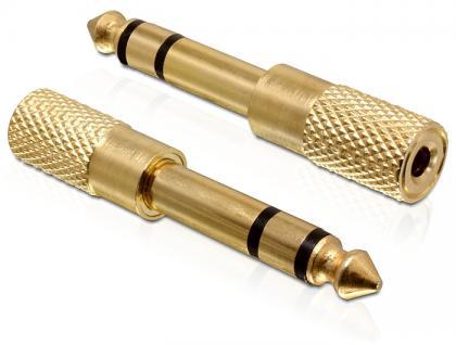 Adapter, Klinke 6, 35mm Stecker an 3, 5mm Buchse, 3Pin, Metall, Delock® [65361]