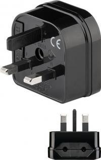 Netzadapter, British 3-Pin-Stecker (Typ G) an Eurobuchse (Typ C), schwarz