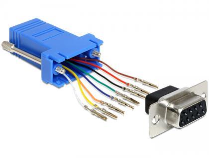 Adapter, Sub-D 9 Pin Buchse zu RJ45 Buchse, Montagesatz, blau, Delock® [65430]