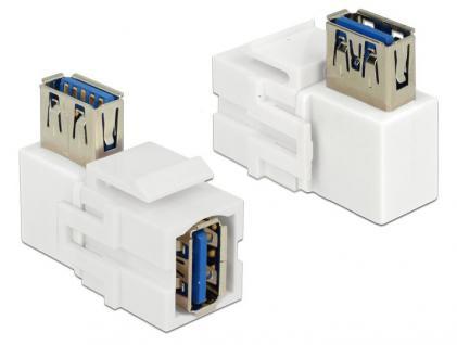 Keystone Modul, USB 3.0 Buchse A an USB 3.0 A Buchse 90____deg; gewinkelt, weiß, Delock® [86361]
