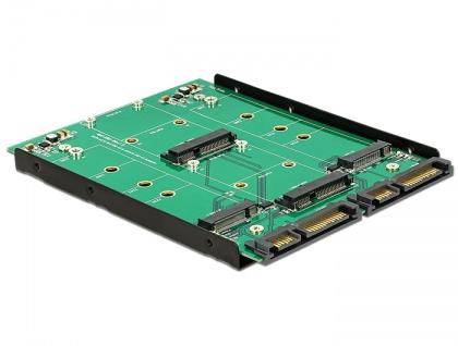 3.5? Konverter 2x SATA 22 Pin an Dualport 2x M.2 / 2x mSATA, Delock® [62946]