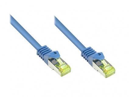 RJ45 Patchkabel mit Cat. 7 Rohkabel und Rastnasenschutz (RNS®), S/FTP, PiMF, halogenfrei, 500MHz, OFC, blau, 0, 5m, Good Connections®