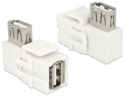 Keystone Modul, USB 2.0 Buchse A an USB 2.0 A Buchse 90____deg; gewinkelt, weiß, Delock® [86364]