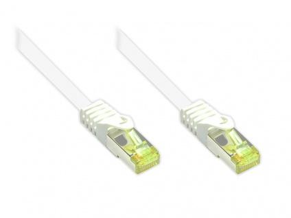 kabelmeister® RJ45 Patchkabel mit Cat. 7 Rohkabel und Rastnasenschutz (RNS®), S/FTP, PiMF, halogenfrei, 500MHz, OFC, weiß, 1m