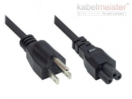 kabelmeister® Netzkabel Amerika/USA Netz-Stecker Typ B (NEMA 5-15P) an C5 (gerade) für Notebook, ETL, schwarz, AWG18, 1, 8 m