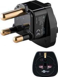 Netzadapter, Südafrika-Stecker (Typ M) an Schutzkontaktbuchse (Typ F), schwarz