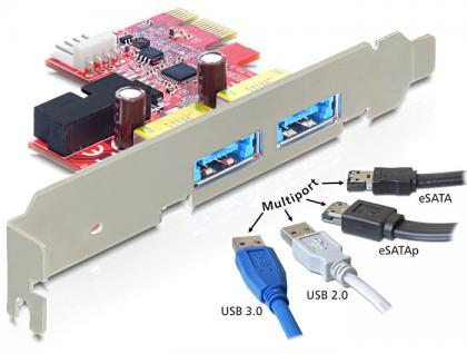 Schnittstellenkarte PCI Express an 2 x Multiport USB 3.0 + eSATAp, Delock® [89288]