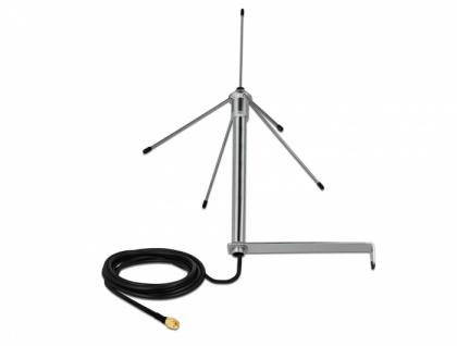 433 MHz Antenne SMA Stecker 3 dBi omnidirektional starr mit Anschlusskabel RG-58 C/U 3 m Wandmontage outdoor silber, Delock® [12565]