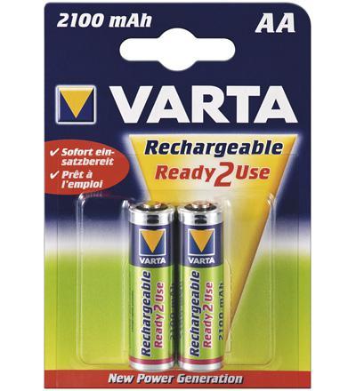 Varta® Akku (READY 2 USE) Ni-MH Mignon (AA) 1, 2V 2100mA (56706), 2er Pack in Blister