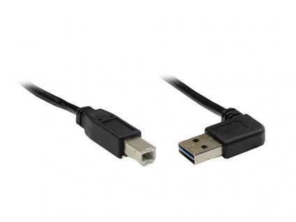Anschlusskabel USB 2.0 EASY Stecker A gewinkelt an Stecker B, schwarz, 3m, Good Connections®