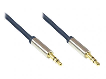 Audio Anschlusskabel High-Quality 3, 5mm, 2x Klinkenstecker, Vollmetallgehäuse, dunkelblau, 0, 5m, Good Connections®