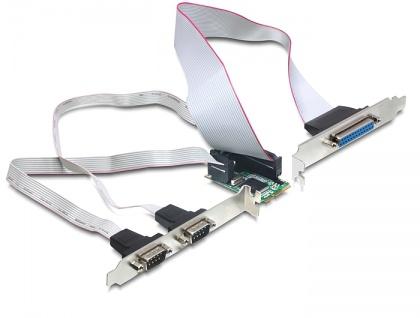 MiniPCIe I/O PCIe full size 2 x Seriell RS-232, 1 x Parallel, Delock® [95232]