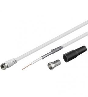 kabelmeister® SAT/Koaxialkabel Set, doppelt geschirmt, Inhalt: 10m Kabel, 2x F-Stecker, 1x Tülle