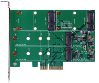 PCIe (x2) RAID 0/1 Controller für M.2 NFGG & mSATA Module für je zwei SSD, Exsys® [EX-3649]