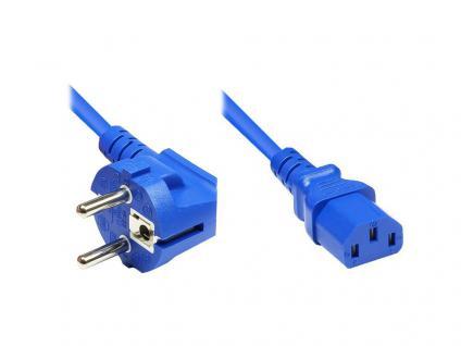 Netzkabel Schutzkontakt-Stecker an Kaltgeräte-Buchse, Typ F an C13, 5m, blau, Good Connections®