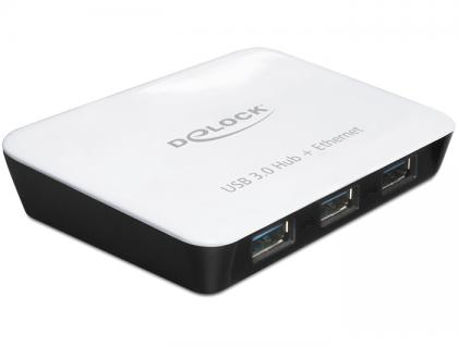 Hub, USB 3.0, 3 Port + 1 Port Gigabit LAN 10/100/1000 Mb/s, Delock® [62431]