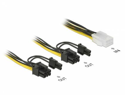 PCI Express Stromkabel 6 Pin Buchse > 2 x 8 Pin Stecker 15 cm, Delock® [85452]