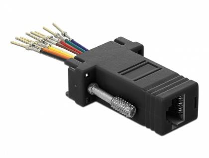 Adapter Sub-D 9 Pin Stecker an RJ45 Buchse, Montagesatz, schwarz, Delock® [66166]