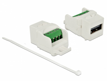 Keystone Modul USB 2.0 A Buchse an Terminalblock weiß, Delock® [86376]