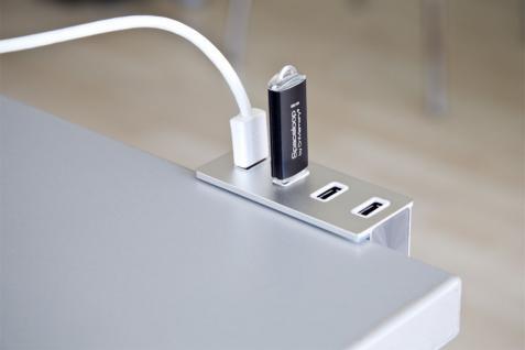 USB 3.0 HUB 4-Port, 4x Buchse A, USB Anschluss mit A-Stecker, spezielle Befestigung für Tisch oder flachem Monitor, Exsys® [EX-1126]