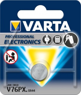 Varta® Knopfzelle (V76 PX) Silberoxid-Zink, SR44, 1, 55V, 145mAh