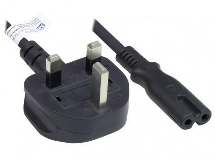 Netzkabel England/UK Netz-Stecker Typ G (BS 1363) an C7/Euro 8 Buchse (gerade), 3A, ASTA, schwarz, 0, 75 mm², 1, 8 m, Good Connections®