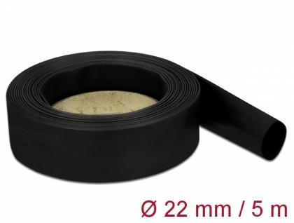 Schrumpfschlauch 5 m x 22 mm schwarz, Delock® [18943]