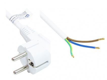 Netzkabel Schutzkontakt-Stecker Typ E+F (CEE 7/7, gewinkelt) an abisolierte Enden, weiß, 1, 00 mm², 3 m, Good Connections®