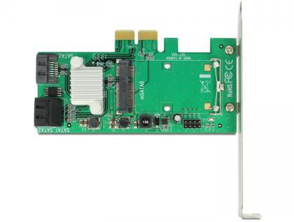 PCI Express Karte an Hybrid 3 x intern SATA 6 Gb/s + 1 x intern mSATA, Delock® [89371]